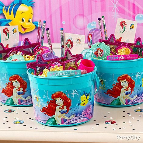 A Little Mermaid bucket with whozits and whatzits galore are sure to keep the mermaids smiling long after the party is over!