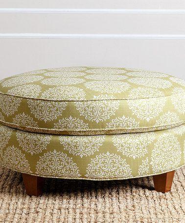 Loving this Green Floral-Moss Kirsten Linen Round Ottoman on #zulily! #zulilyfinds