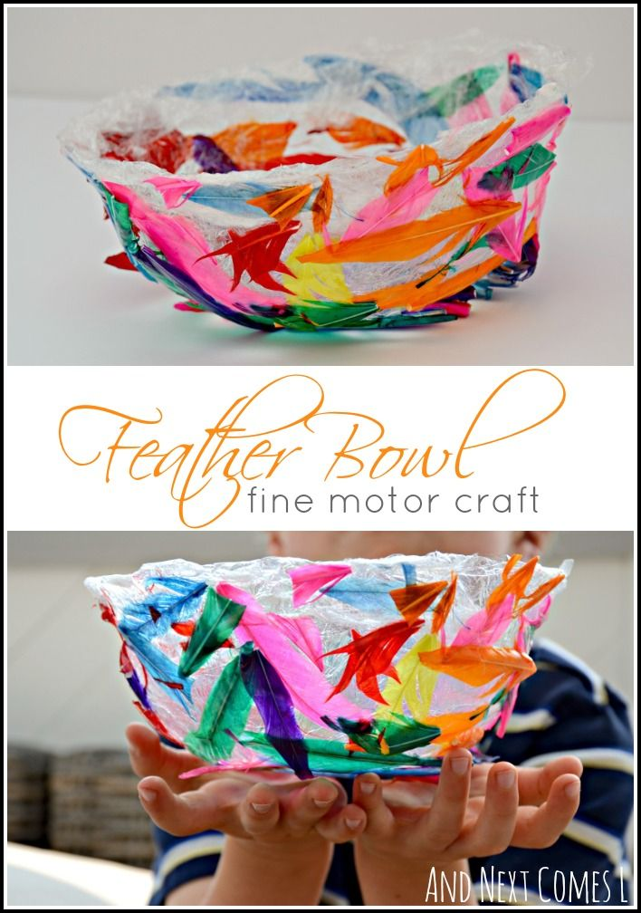 Colorful feather bowl fine motor craft for kids- learning about birds unit