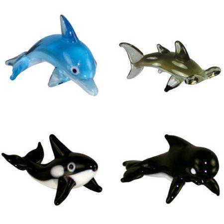 BrainStorm Looking Glass Miniature Glass Figurines, 4-Pack, Bottlenose Dolphin/Hammerhead Shark/Orca/Pilot Whale, Multicolor