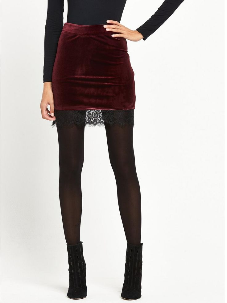 Velvet Lace Hem Skirt - Burgundy, http://www.very.co.uk/miss-selfridge-velvet-lace-hem-skirt-burgundy/1600115047.prd