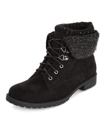 Teens Black Knitted Collar Lace Up Boots