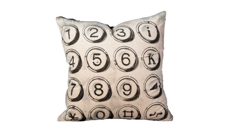The Typewriter Keys Pillow offers a worn vintage feel perfect for a chic farmhouse setting, lakeside living or contemporary home!