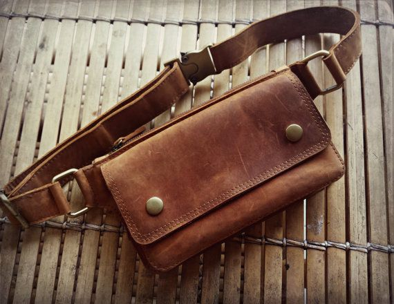 Unisex fanny pack adjustable Nutmeg leather with 2 by Amanur