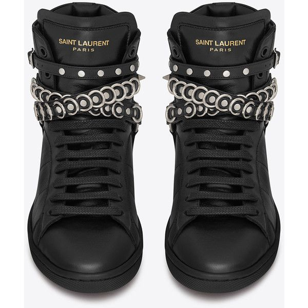 Saint Laurent Signature Sl/32H Court Classic Studded Harness Strap... ($680) ❤ liked on Polyvore featuring shoes, sneakers, studded high-top sneakers, studded sneakers, rubber sole shoes, yves saint laurent shoes and high top trainers
