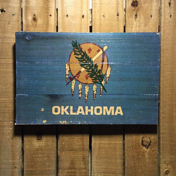 Oklahoma Flag on Wood 11x17 Oklahoma Wall Art by OakhillRoad                                                                                                                                                                                 More