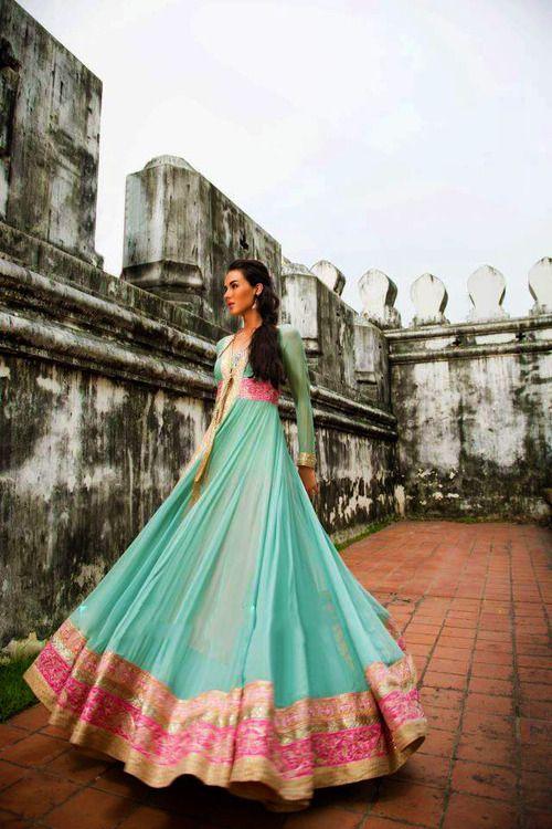 Mint and pink anarkali #bridalcouture #weddingdress #weddinginspiration