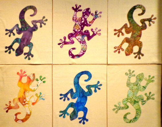 Gecko Finished Appliqued Quilt Blocks