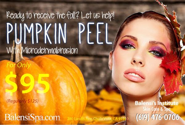 NOVEMBER PROMOTION Halloween may be over be pumpkins just keep giving! Our pumpkin peel with microdermabrasion stimulates the production of collagen and elastin and helps to decrease fine lines and wrinkles. Book yours now at http://www.balensispa.com/promotions/monthly-promotion.php