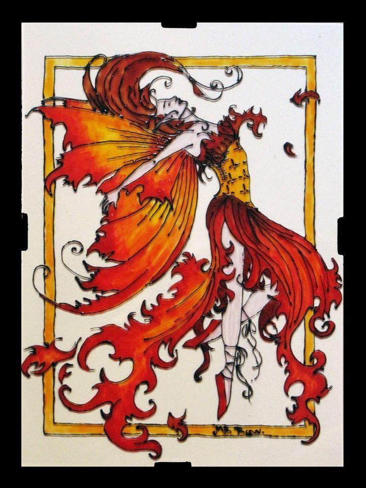 Fata di Fuoco - Pittura su vetro fatto a mano 13 × 18 cm