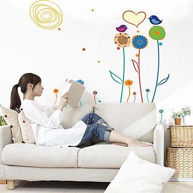 Createforlife ® Cartoon Vogels in de Bloemen Kids Kinderkamer Muurstickers Wall Art Decals  – EUR € 14.99