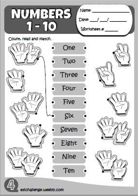 Numbers - worksheet http://eslchallenge.weebly.com/hello-kids-1.html