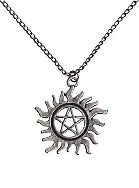 """<p>Supernatural beings are out there. Protect yourself from demonic possession with this necklace from <i>Supernatural</i>. It's got an anti-possession symbol pendant. Now there's no need to get a tattoo on your chest like Sam and Dean Winchester.</p>  <ul> <li>Pendant: 1 1/4"""" diameter</li> <li>Chain: 16"""" with 3"""" extender</li> <li>Base metal</li> <li>Imported</li> </ul>"""