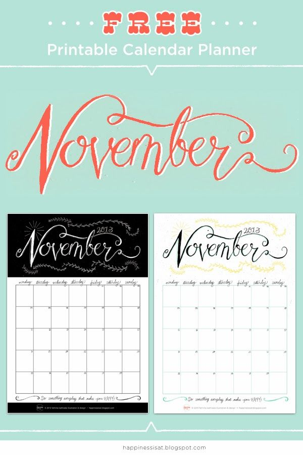 November Free Printable Calendar Planner