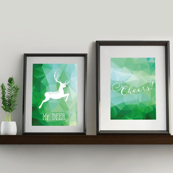 Set of two prints with green polygon background. by OneLovelyPlace