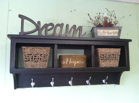 Cubby Wall Shelf Country Shelf for Baskets Bath Or Entryway W Hooks Primtive Distressed Black via Etsy