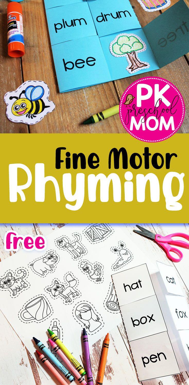 Free Fine Motor Rhyming Activities Rhyming Activities Rhyming Activities Preschool Kindergarten Reading Activities [ 1500 x 735 Pixel ]