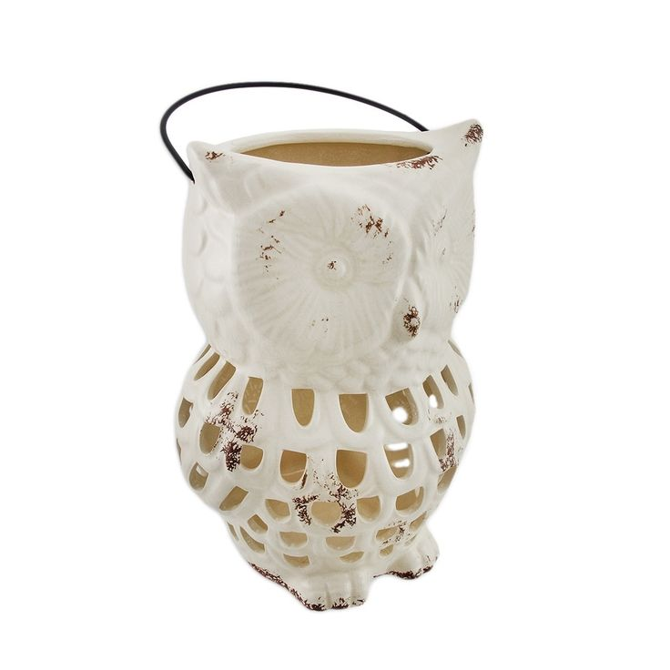 Ceramic Owl Lantern Open Work Design White