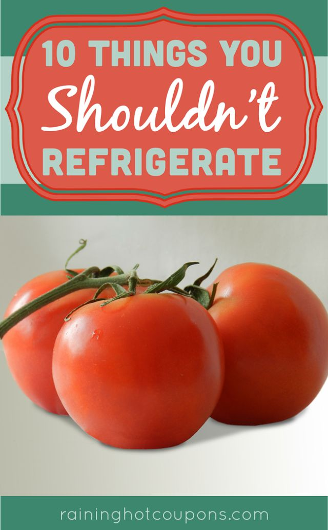 10 Things You Shouldn't Refrigerate (until they're ripe at least!) - Potatoes, avocados, coffee, honey, melons, banana, garlic, stone fruit, tomatoes, canned Parmesan.
