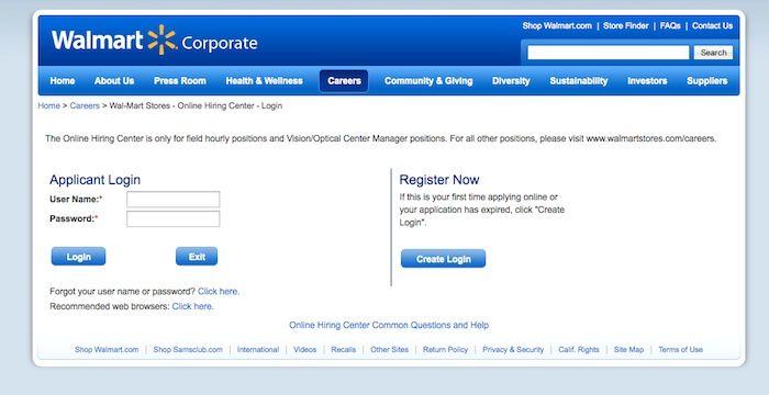 www walmartstores com careers login