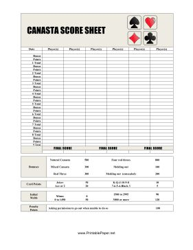 This Canasta Score Sheet has space to record all of your Canasta scores. Free to download and print