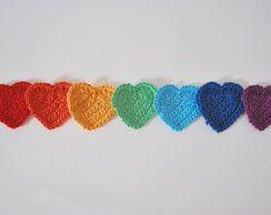 7 Ímãs Corações de Crochê - Frete Grátis