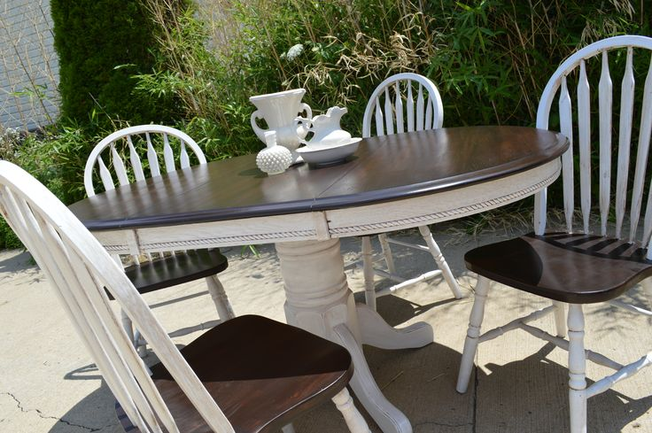 Oak Table Painted In General Finishes Snow White With Van