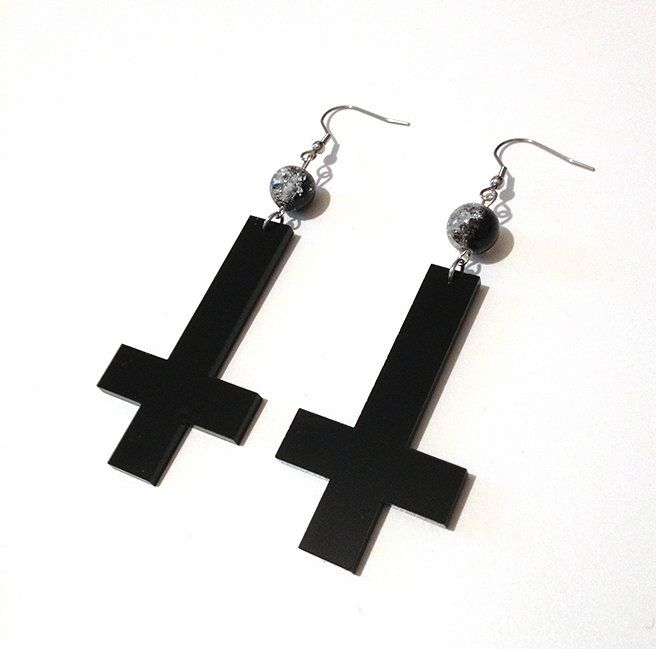 BLACK ACRYLIC INVERTED CROSS EARRINGS WITH MOON PHASE GLASS BEADS  by Pornoromantic