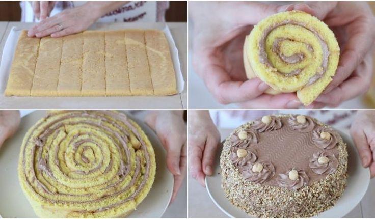 TORTA NOCCIOTELLA di Benedetta –  Hazelnuts Nutella Roll cake Recipe Here: http://www.fattoincasadabenedetta.it/torta-nocciotella/