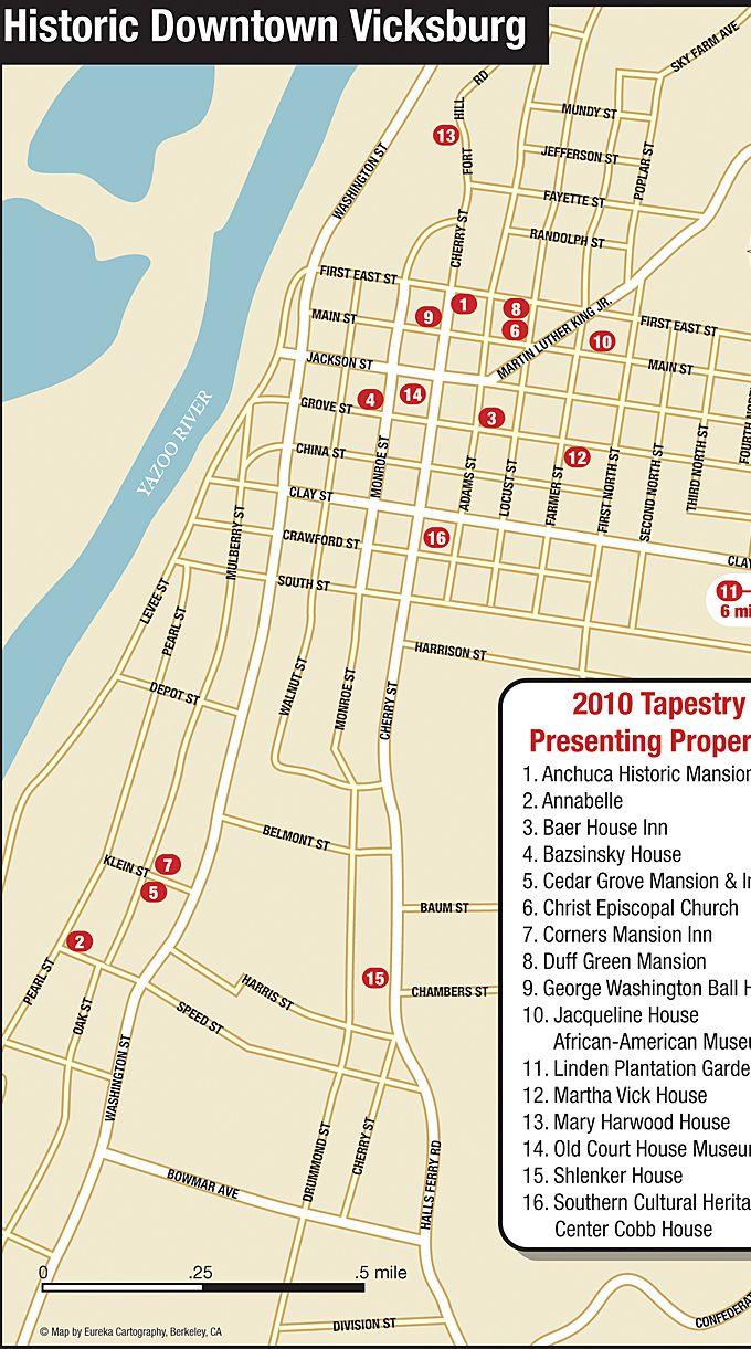 Vicksburg Ms Downtown Map 169 Eureka Cartography Berkeley