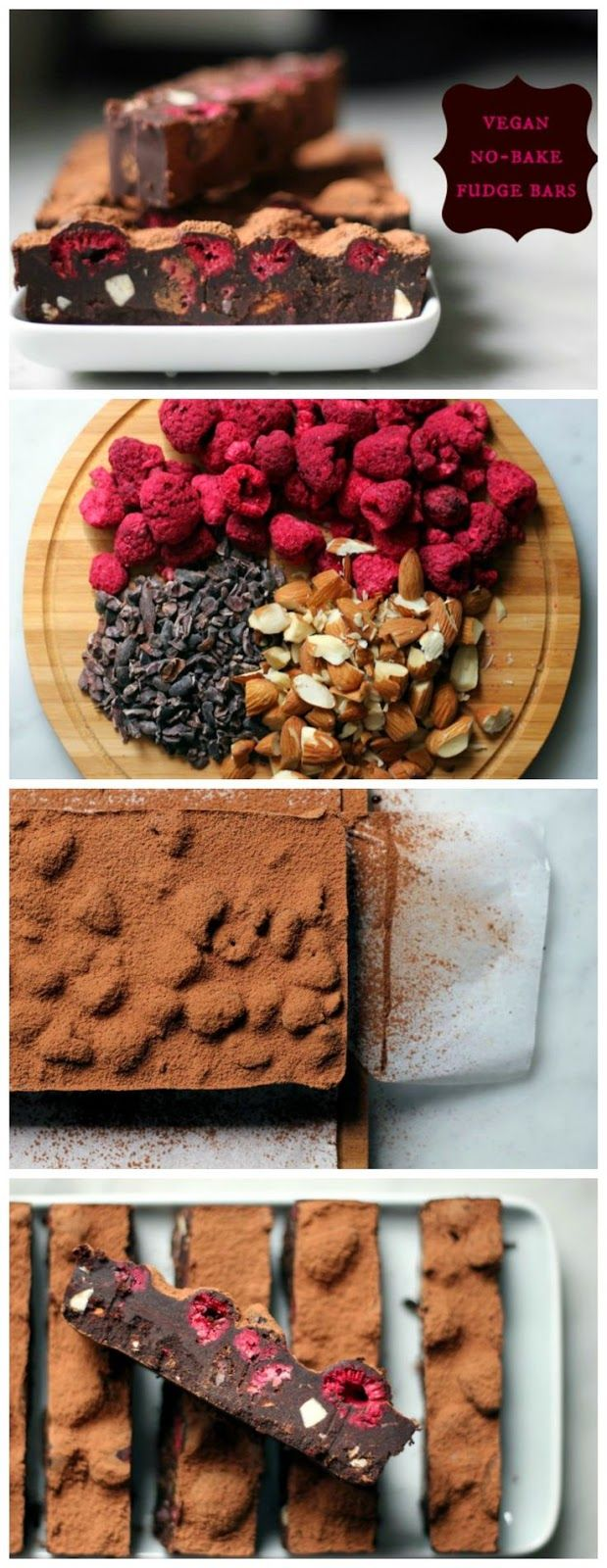 Vegan No-Bake Fudge Bars with raspberries cacao nibs and almonds - would be good for valentine's day