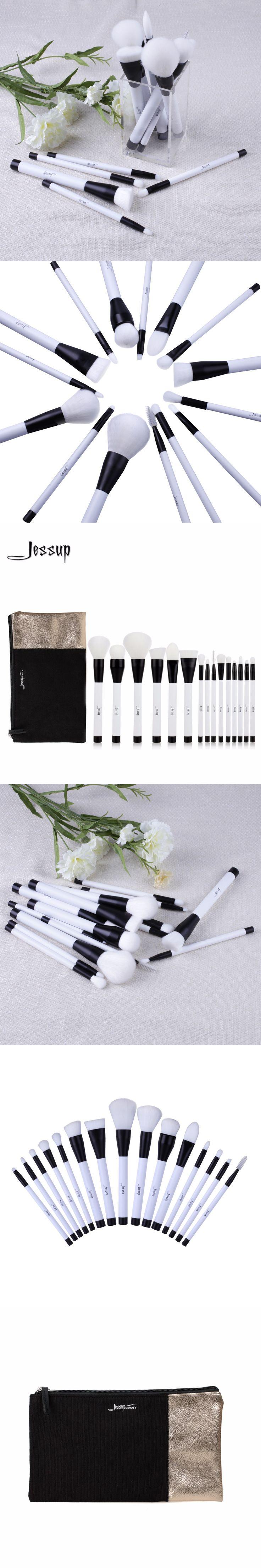 2017 Jessup Brushes 15pcs Beauty Makeup Brushes Set Brush Tool Black and White  Cosmetics Bags T115&CB002