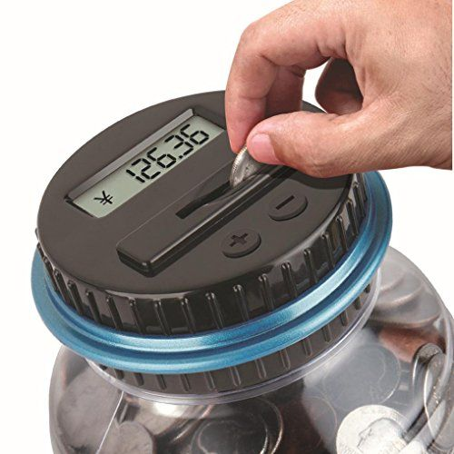 Clear Digital Piggy Bank, SANNYSIS Coin Savings Counter LCD Counting Money Jar Change Gift Two small grooves on jar body make you hold it more easier Made of ABS, harder to break than those glass/ceramic money boxes It is design to accept all American circulated coins, from pennies to dollars Fun way to save money and keep all your loose change, a perfect gift saving pocket money for the kids This clear jar has a LCD screen on a lid helps count your coins as they slip through the ...
