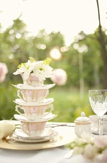 Vintage Tea Cup Stack Centrepiece- LETS GO TO STEPTOES TO FIND THE CUPS!!!!!