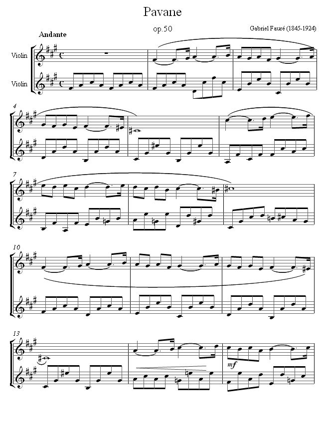 Fauré -  Pavane    sheet music for Violin Duet