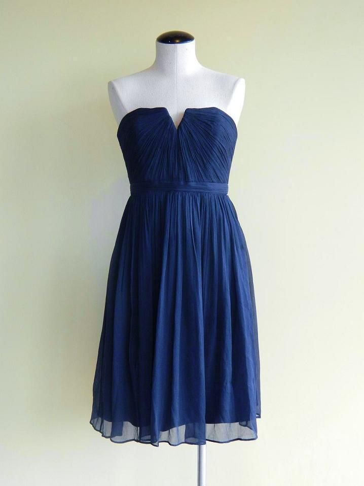 13e6248bcb1e JCrew Silk Chiffon Nadia Dress $250 10 dark cove blue cocktail party  bridesmaid   eBay