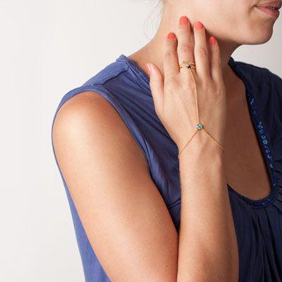 Parure de main plaqué or Marion Bartoli by MATY - vue porté 1
