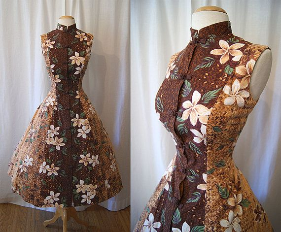 Beautiful 1950's Hawaiian brown floral cotton tunic mandarin collar style summer sun dress tiki Hawaiiana pin up