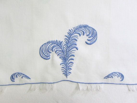 Marghab Madeira Hand Towel Plume Blue Eyelash by VintageLinens