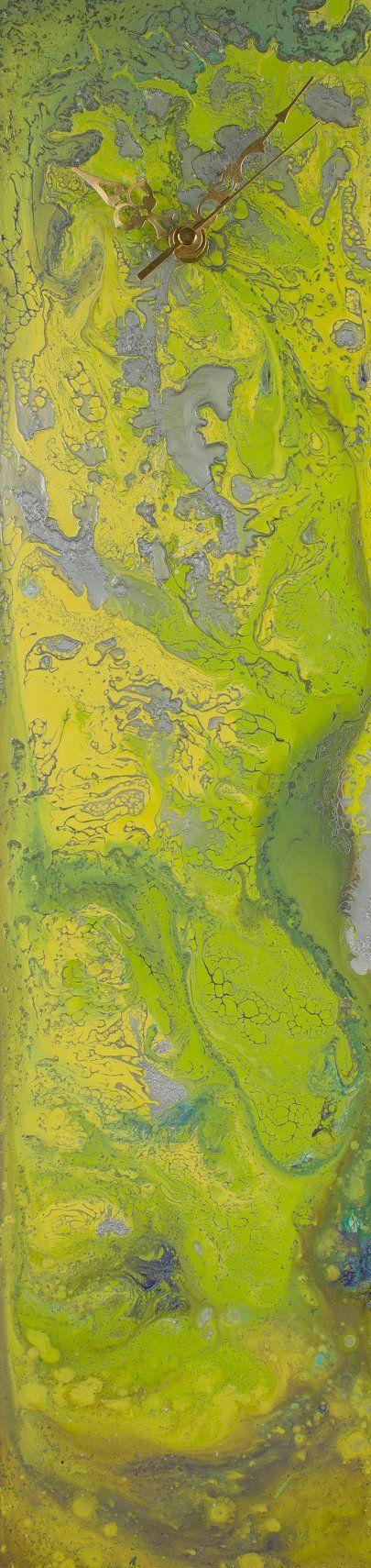 Lime Green Clock, Bright Green Wall Clock, Long Glass Wall Art, Rectangular  Clocks Part 94