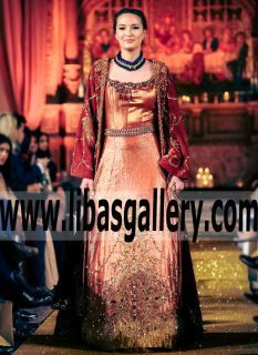 Astonishing Embellished Aurora Gold Shaded Velvet Jacket With Coral Red Khimkhab for Beautiful Brides - Strict: say it straight with iconic Gowns and Anarkali from Nilofer Shahid's #Londonfashionweek  collection, on site now www.libasgallery.com #UK #USA #Canada #Australia #France #Germany #SaudiArabia #Bahrain #Kuwait #Norway #Sweden #NewZealand #Austria #Switzerland #Denmark #Ireland #Mauritius #Netherland #Londonfashionweek #BeautifulBridalGown #WeddingGowns #shopping #designer