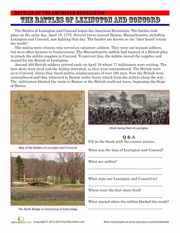 Worksheets: The Battles of Lexington and Concord
