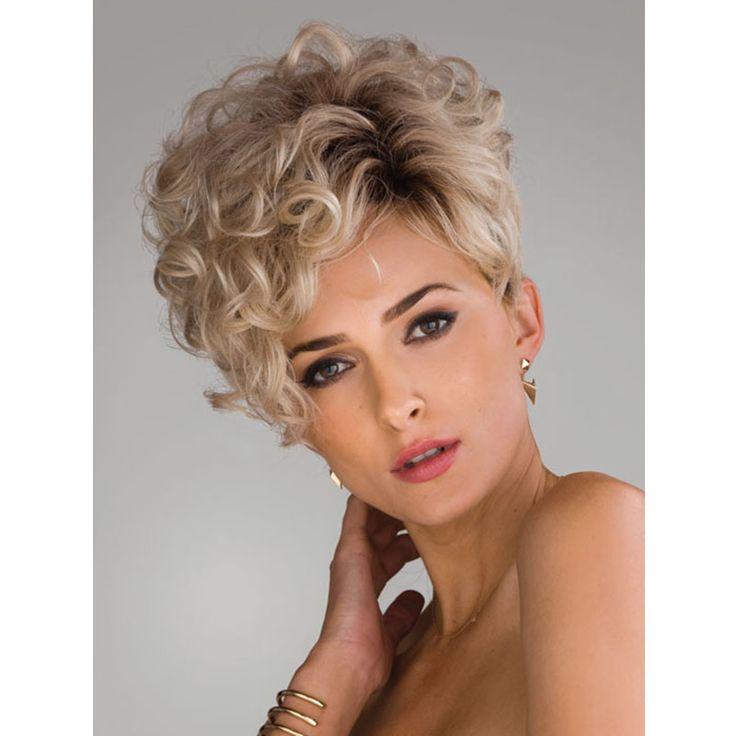 Медуза продукты волос: Асимметричный пикси стили Синтетических пастельные парики для женщин Короткие вьющиеся Смешивать цвета парик Плутон loira SW0243