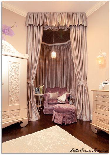 elegant little nook in a girls room.Sitting Area, Girls Room, Reading Corner, Reading Nooks, Baby Room, Baby Girls, Nurseries Design, Girls Nurseries, Baby Nurseries