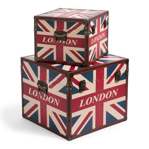 Set van 2 koffers London flag box
