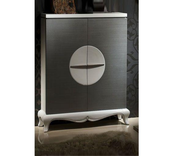 Elegante zapatero de madera en color blanco y plata for Zapatero espejo conforama