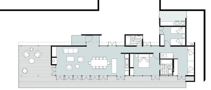 Plano casa de campo tres dormitorios
