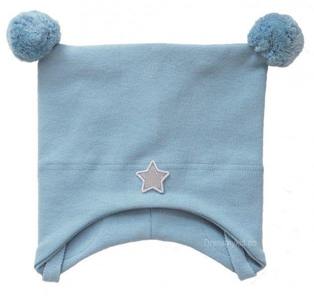 Kivat vårlue, lys gråblå med dusker og stjerne | DressMyKid.no - Barn og baby - Alltid gode tilbud