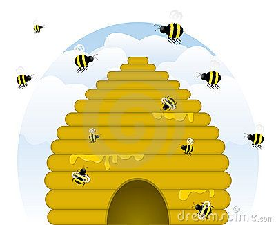 Skep-style, golden beehive dripping with honey, with busy honey bees of various sizes working. (Contains blends