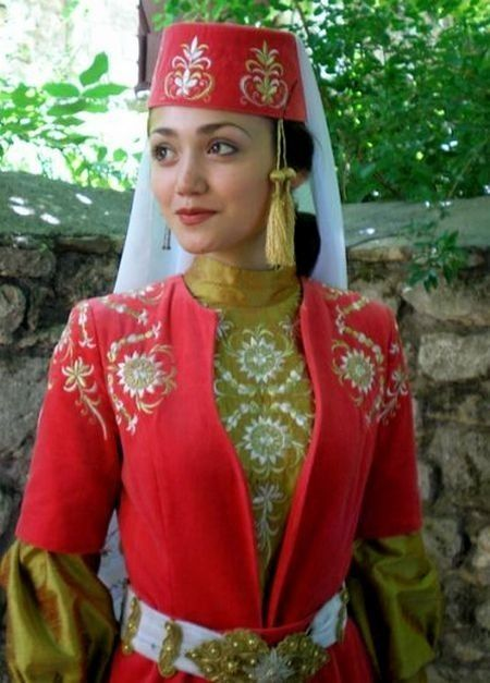 Traditional costume of the 'Kırım Tatarları' (Tatars from Crimea). Style: early 20th century. This is a recent workshop-made copy, as worn by folk dance groups. Large groups of Tatar fled Crimea during the 19th century and settled in Turkey (e.g. in the province of Eskişehir, where they hold large and much attended Tatar gatherings/festivals each year).